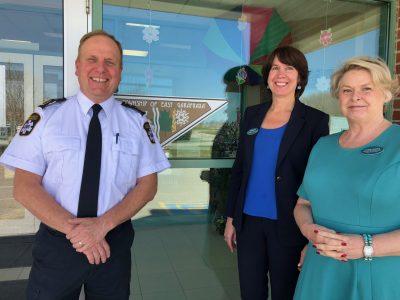 Tom Reid, Stacey Daub, Louise Kindree representing Headwaters visit East Garafraxa Council